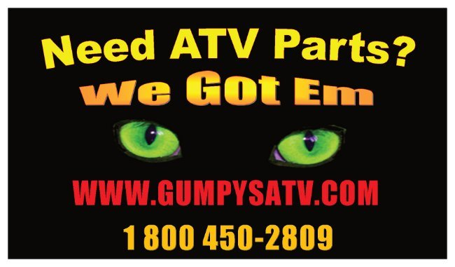 A welcome banner for Gumpys Atv booth