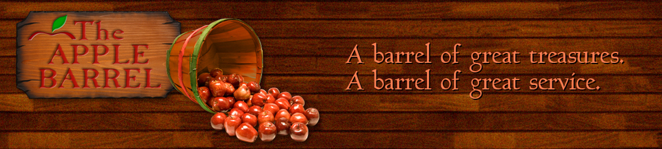 A welcome banner for The Apple Barrel