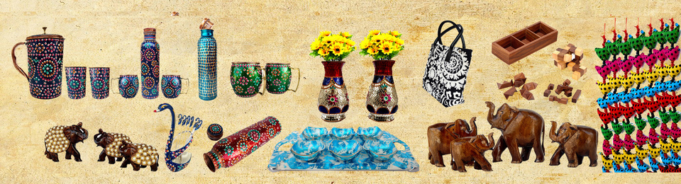 A welcome banner for Rastogi Handicraft booth