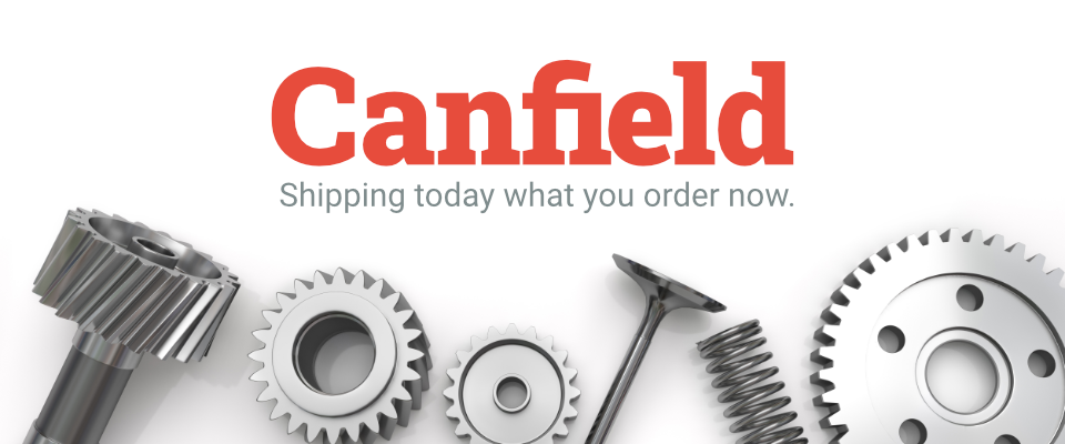 A welcome banner for Canfield Parts and Equipment