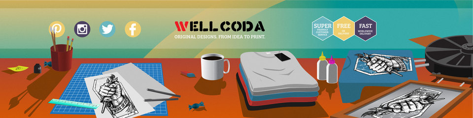 A welcome banner for Wellcoda Apparel