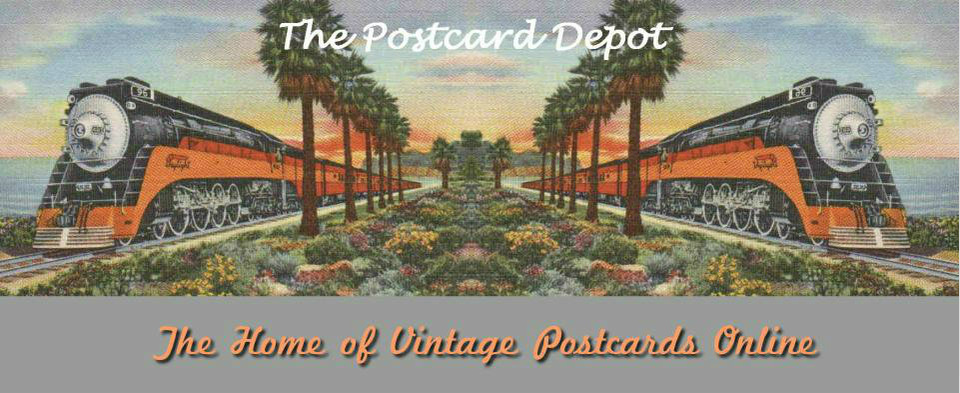 A welcome banner for The Postcard Depot