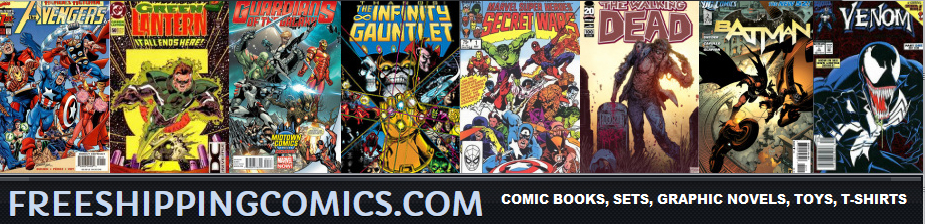 A welcome banner for Free Shipping Comics