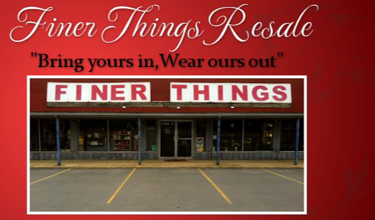 A welcome banner for Finer Things Resale
