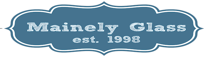 A welcome banner for Mainely Glass - Antique and Vintage Glassware is our passion!