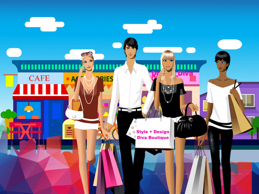 A welcome banner for Style + Design Diva Boutique