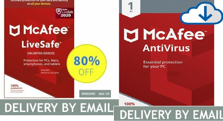 A welcome banner for antivirusspecialist's booth Mcafee Antivirus Livesafe Unlimited PC MAC devices.