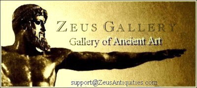 A welcome banner for ZEUS Gallery, Ancient Coins, Artifacts, Vintage Watches