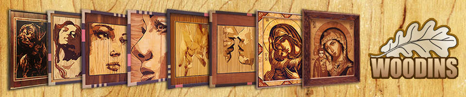 A welcome banner for WOODINS wall art from exotic wood veneer