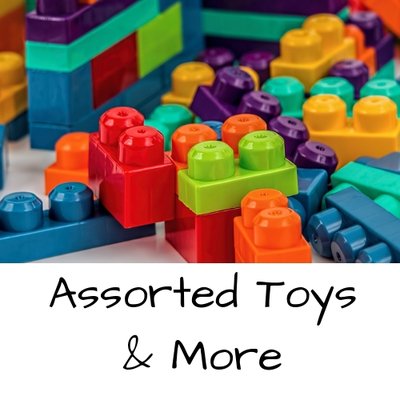 A welcome banner for Assorted Toys and More