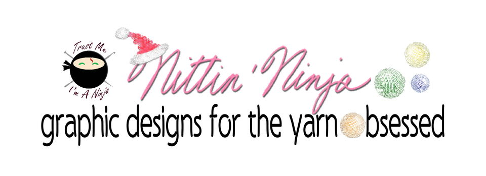 A welcome banner for NittinNinja:  Graphic Designs For The Yarn Obsessed