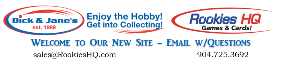 A welcome banner for Rookies HQ Games & Cards - American Hobby Store
