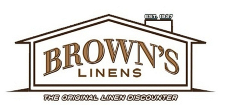 A welcome banner for Browns Linens and Window Coverings