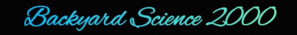 A welcome banner for Backyard Science 2000's booth