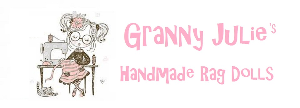 A welcome banner for Granny Julie's  Dolls
