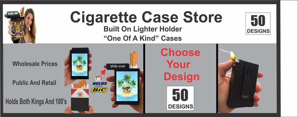 A welcome banner for Cigarette Cases With Built On Lighter Holder!