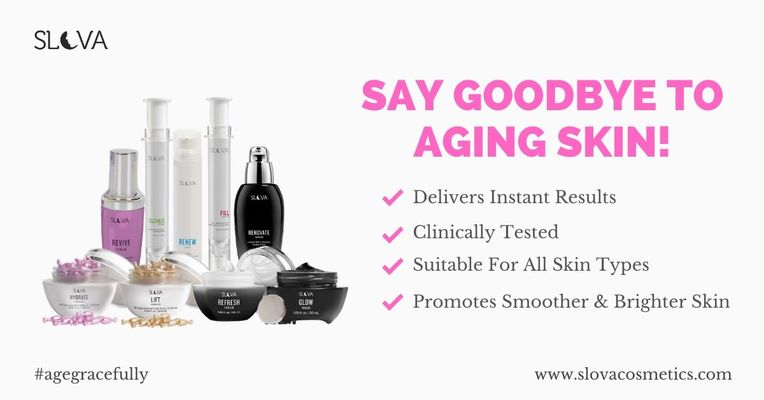 A welcome banner for Slova Cosmetics