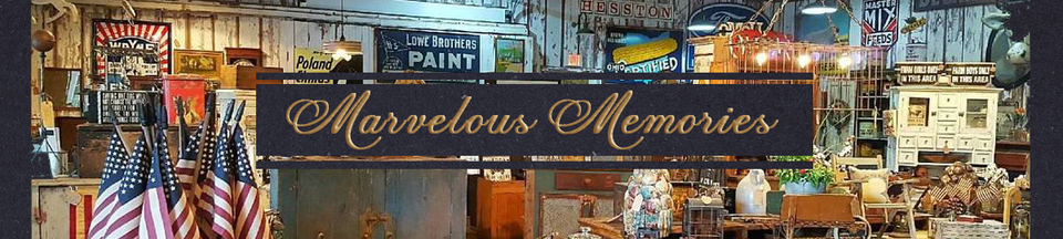 A welcome banner for Marvelous Memories booth