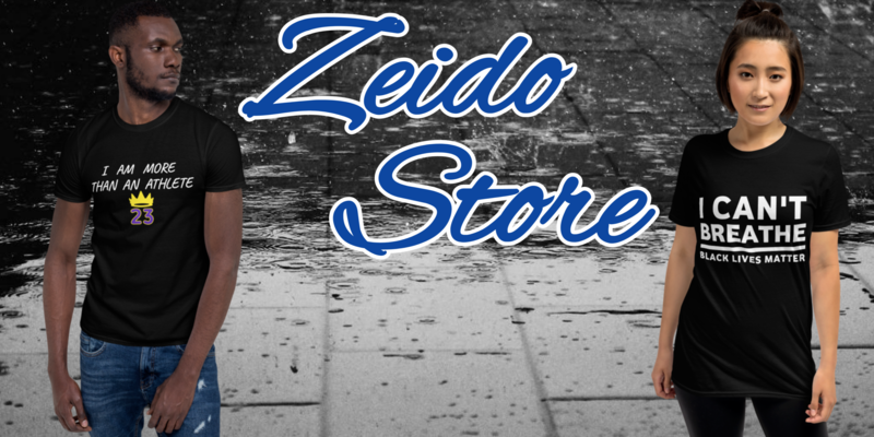A welcome banner for Zeido.Store { Hats / T-Shirts / Accessories }