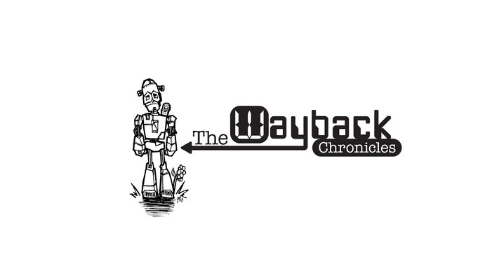 A welcome banner for WaybackChronicles's booth