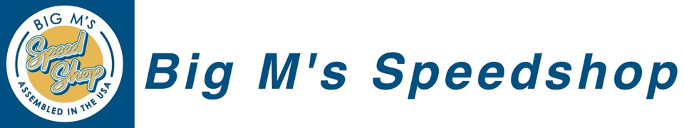 A welcome banner for Big M's Speedshop