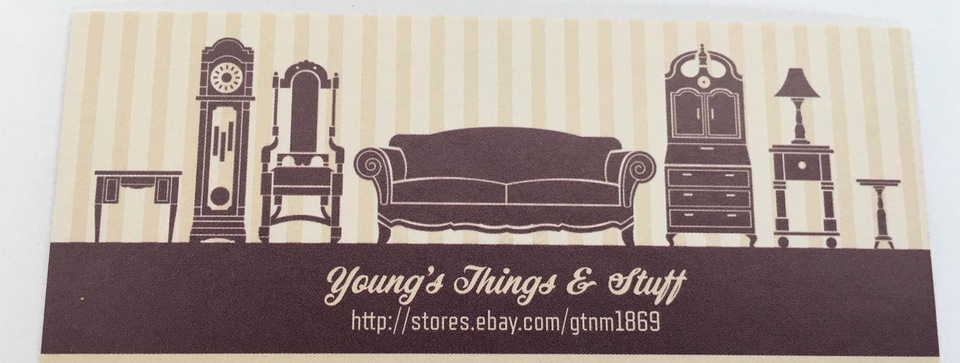 A welcome banner for Young's Things and Stuff