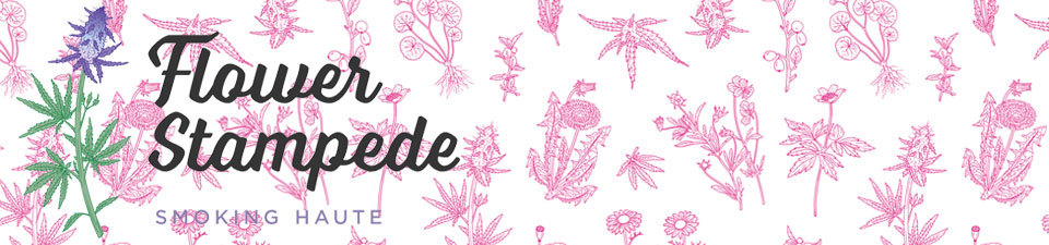 A welcome banner for Flower Stampede | Smoking Haute