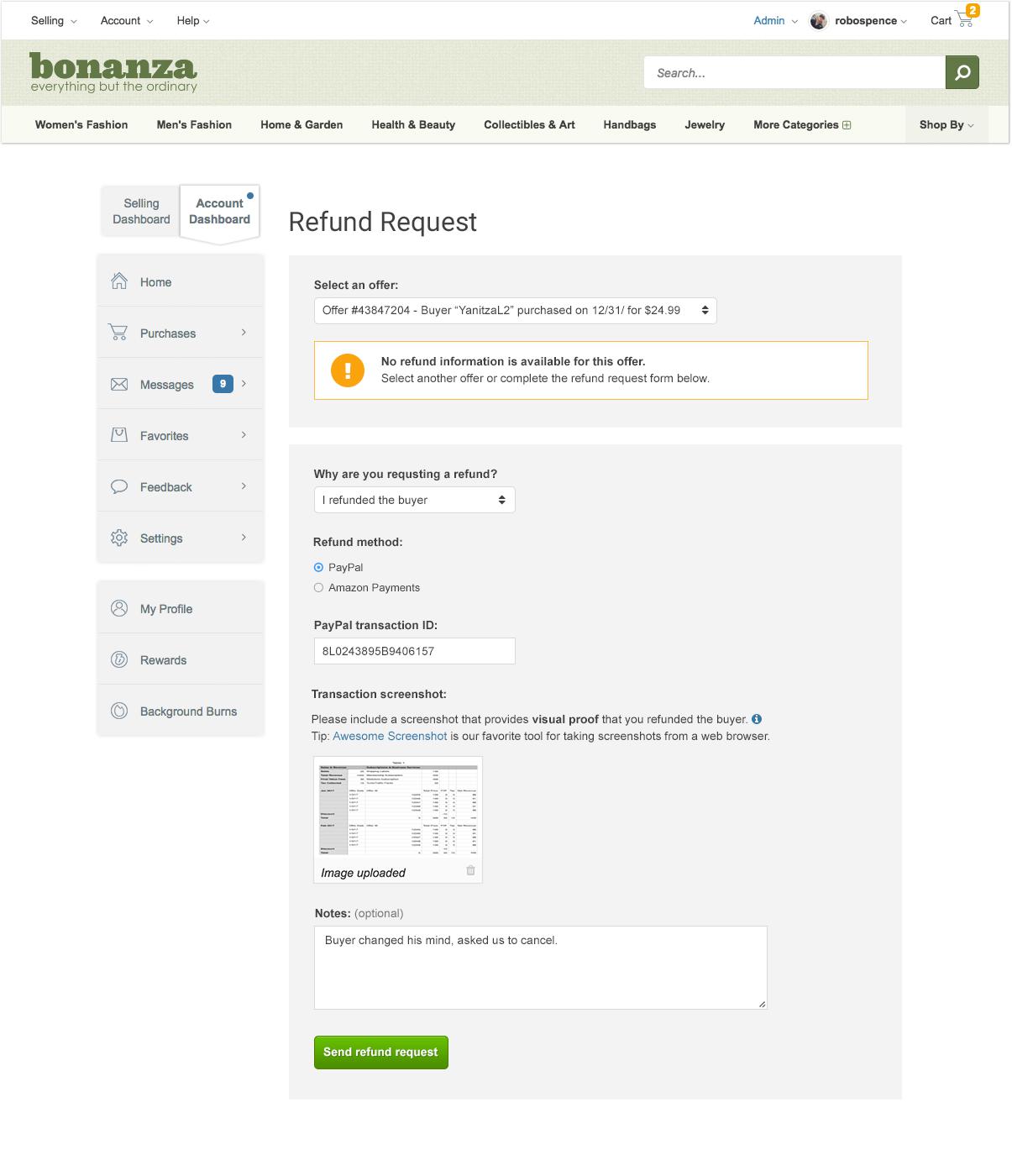 How do I Cancel a Transaction on Bonanza? – Bonanza Help Center