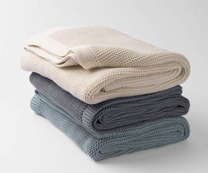 100% Organic Cotton Solid Knit Throw Blanket, an item from the 'Quilts and Throws' hand-picked list