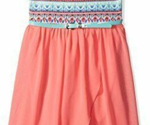 Amy Byer Girls Double Strap Belted Tank Dress w/ Tulip Skirt Coral Teal Size 10, an item from the 'Spring Wear' hand-picked list