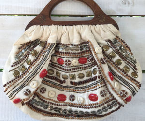 Boho Vtg Charlotte Russe Beaded Canvas Clutch Purse Handbag Wood Handles India, an item from the 'Boho Mom' hand-picked list