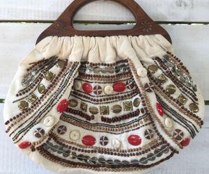 Boho Vtg Charlotte Russe Beaded Canvas Clutch Purse Handbag Wood Handles India, an item from the 'Boho Mom' hand-picked list