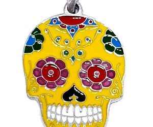 Skull Candy Pendant Mexican Day of the Dead Enamelled Bead Tie Cord Necklace UK, an item from the 'Skulduggery' hand-picked list