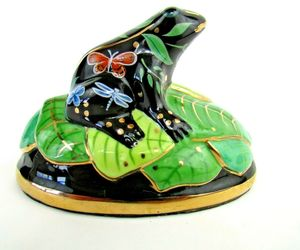 Lynn Chase Designs Hand Painted Porcelain Frog On Lily Pad Butterfly, Dragon Fly, an item from the 'Community Picks: Believe in Mystical Magic' hand-picked list