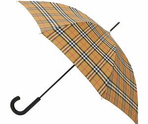new BURBERRY Unisex Vintage Check Sustainable Walking Umbrella in Archive Beige, an item from the 'Community Picks: April Showers...' hand-picked list