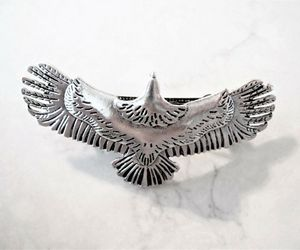 Silver metal eagle bird hair clip barrette, an item from the 'Playing with hair' hand-picked list