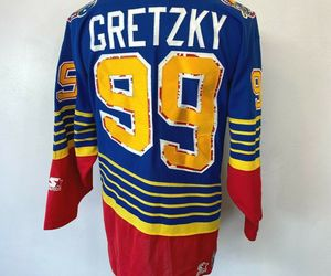 "Vintage Wayne Gretzky Jersey size L St Louis Blues 99 Starter 56"" Chest NHL S9, an item from the 'Community Picks: St. Louis Blues' hand-picked list"