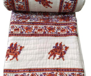 Buy White Cotton Quilt For Sale King Size Wedding Ring Lightweight Camel Print, an item from the 'Quilts and Throws' hand-picked list