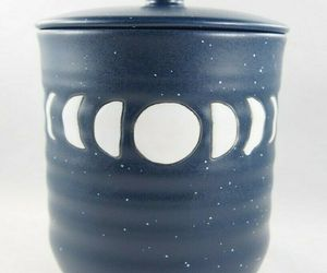 Stay Wild Moon Child Blue White Boho Moon Phase Ceramic Jar Cannister w/ Lid New, an item from the 'Boho Mom' hand-picked list