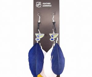 St Louis Blues Feather Style Earrings With Team Logo NHL Licensed - NWT, an item from the 'Community Picks: St. Louis Blues' hand-picked list