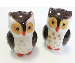 Salt and Pepper Shaker Set Owl Owls Ceramic Woodland Lodge, an item from the 'Community Picks: Invite An Animal to Your Table' hand-picked list