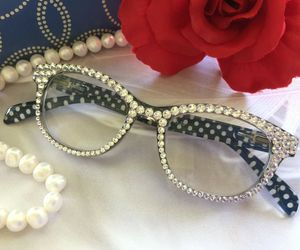 Polka Dot Reading Glasses, +1.25 Readers, Clear Swarovski Crystals, an item from the 'Vision with Style' hand-picked list