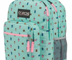 New TRANS by JANSPORT Blue Munchies Print Supermax Multi Pocket Backpack, an item from the 'It's in the Bag - Backpacks' hand-picked list