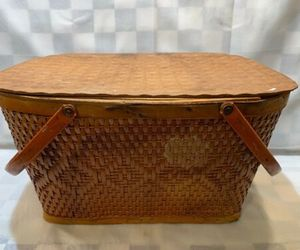 Vintage RED-MAN Wicker Woven Picnic Basket Peru Indiana Made in USA 18 x 12 x 10, an item from the ' Pic·nick·ing' hand-picked list