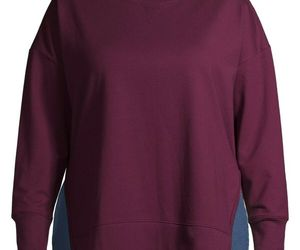 Terra & Sky Women's Plus French Terry Sweatshirt Size 5X (32-34) Wine Fusion New, an item from the 'All Things Cozy' hand-picked list