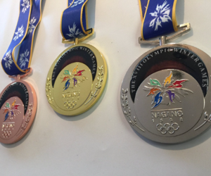 Nagano 1998 Olympic Medals Set (Gold/Silver/Bronze) with Silk Logo Ribbons !!!, an item from the 'Community Picks: Olympics in Japan' hand-picked list