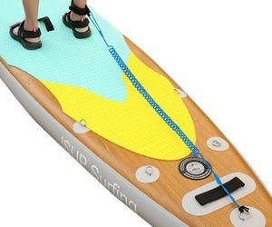 3m/10Ft Sup SurfBoard Ankle Leash Surfing Elastic Coiled Stand Board Leg Rope, an item from the 'Community Picks: Sporty Dad' hand-picked list