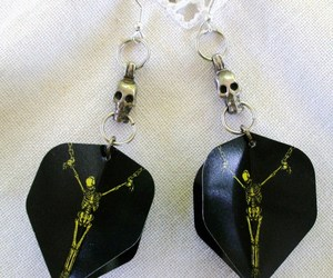 Handmade Sweeper Goth Skeleton Dart Flight Tip Game Earrings Pewter Skulls USA , an item from the 'Community Picks: Steampunk & Gothic Jewelry' hand-picked list