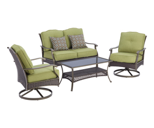 4 Piece Backyard Patio Furniture Set Table Swivel Chairs Love Seat Outdoor Home, an item from the 'Summer Outdoor Furniture' hand-picked list