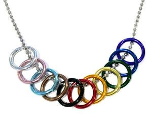 """PROGRESS PRIDE FREEDOM RINGS NECKLACE 20"""" Chain LGBTQ Inclusive Rainbow Flag NEW, an item from the 'Show Your Pride' hand-picked list"""
